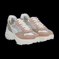 Dad shoes rosa in microfibra e tessuto tecnico, Scarpe, 132899259MFROSA036, 002 preview