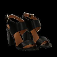 Sandali neri in eco-pelle, tacco comfort 10 cm, Sandali con tacco, 136383057EPNERO035, 002a