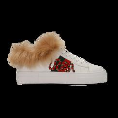 Sneakers bianche con ricami animalier e dettagli in faux-fur, Scarpe, 126102020EPBIAN, 001 preview