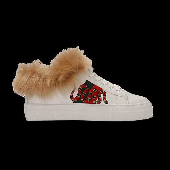 Sneakers bianche con ricami animalier e dettagli in faux-fur, Scarpe, 126102020EPBIAN