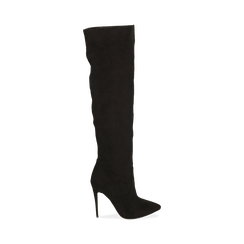 Overknee neri in microfibra, tacco 11,5 cm , Stivali, 142160055MFNERO041, 001 preview