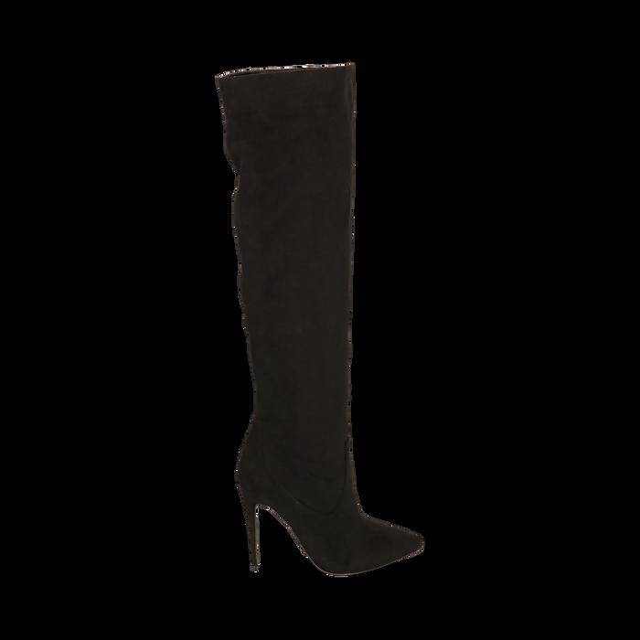 Overknee neri in microfibra, tacco 11,5 cm , Stivali, 142160055MFNERO041