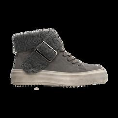 Sneakers grigie con risvolto in eco-shearling, Primadonna, 124110063MFGRIG, 001 preview