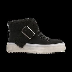 Sneakers nere con risvolto in eco-shearling, Scarpe, 124110063MFNERO, 001 preview