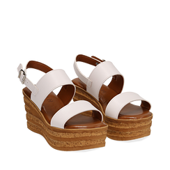 Sandali platform bianchi in eco-pelle, zeppa 8 cm , Saldi Estivi, 13A133255EPBIAN035, 002a