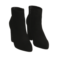 Botines color negro en microfibra, tacón 9 cm, Primadonna, 164981396MFNERO035, 002a