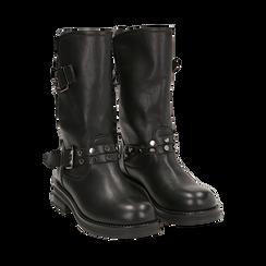 Biker boots con fibbie e borchie neri in eco-pelle, tacco 4 cm , Stivaletti, 14A719671EPNERO036, 002 preview