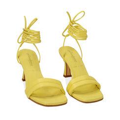 Sandali lace-up gialli, tacco 7,5 cm , 17L800196EPGIAL035, 002a