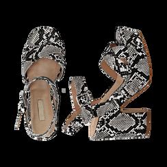 Sandali con plateau bianco/neri in eco-pelle, effetto snake skin, tacco 11 cm , Sandali con tacco, 134903269PTBINE035, 003 preview