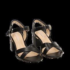Sandali neri, tacco 7 cm, Scarpe, 152990638EPNERO036, 002a