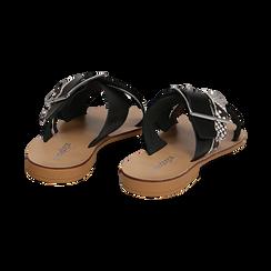 Mules nere in vera pelle con dettagli snake skin, Primadonna, 133500088PENERO035, 004 preview