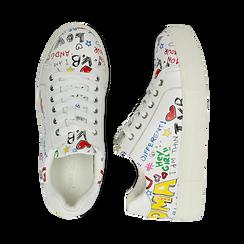 Sneakers bianche in eco-pelle con scritte cartoon , Scarpe, 139301164EPBIAN036, 003 preview