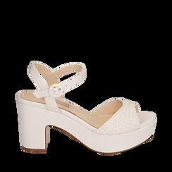 Sandalias en eco-piel trenzada color blanco, tacón cuña 8,50 cm , Primadonna, 158480212EIBIAN035, 001a
