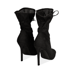 Botines open toe en microfibra perforada color negro, tacón 11 cm, Zapatos, 152182886MFNERO036, 003 preview