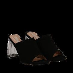 Mules nere in microfibra, tacco plexi 8 cm , Scarpe, 132708232MFNERO035, 002a
