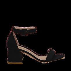 Sandali nero in microfibra, tacco a trapezio 6 cm, Scarpe, 132775611MFNERO036, 001a