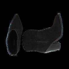 Camperos neri in microfibra, tacco 9 cm, Primadonna, 162153902MFNERO035, 003 preview