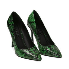 Décolleté verdi in eco-pelle, effetto snake skin, tacco 11 cm , Scarpe, 142182822PTVERD035, 002a
