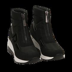 Sneakers a calza nere in tessuto tecnico, zeppa 6 cm, 16A718203TSNERO037, 002a
