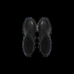 Anfibi neri con lacci e carrarmato, tacco 7 cm, Primadonna, 120800804EPNERO035, 004 preview