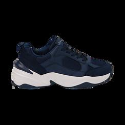 Dad shoes blu in microfibra, zeppa 4,50 cm, Sneakers, 142619462MFBLUE036, 001 preview