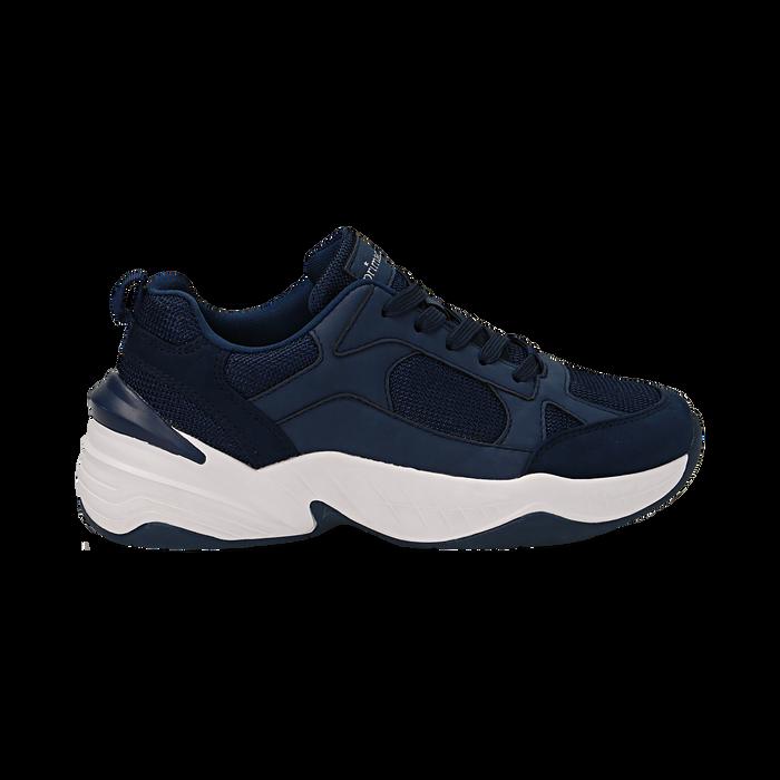 Dad shoes blu in microfibra, zeppa 4,50 cm, Sneakers, 142619462MFBLUE036