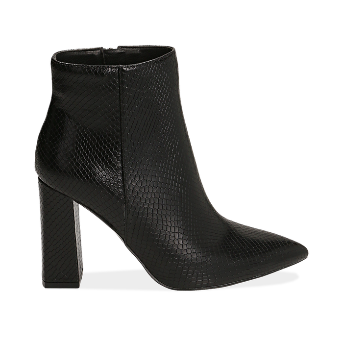 Ankle boots neri in eco-pelle stampa pitone, tacco 9,5 cm , Primadonna, 142186672PTNERO036