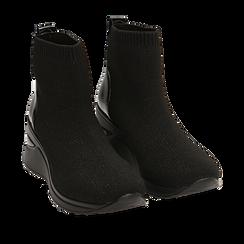 Slip-on de tela en color negro, cuña 6 cm , Primadonna, 162801943TSNERO035, 002a