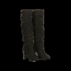 Stivali neri scamosciati con gambale drappeggiato, tacco alto 9,5cm, Primadonna, 124911102MFNERO, 002 preview