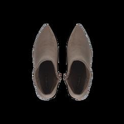 Tronchetti taupe scamosciati, tacco 5 cm, Scarpe, 122707418MFTAUP, 004 preview