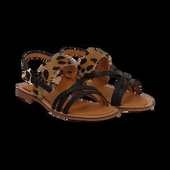 Sandali neri in eco-pelle con dettaglio leopard, Saldi Estivi, 135201203EPNERO036, 002 preview