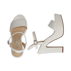 Sandali con plateau bianchi in eco-pelle, tacco 13 cm , Sandali con tacco, 138404164EPBIAN036, 003 preview