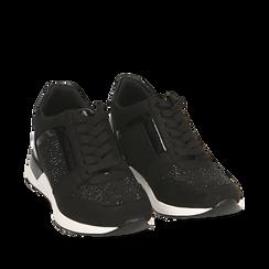 Sneakers noires en tissu technique, compensée 4 cm, Primadonna, 162826824TSNERO036, 002a