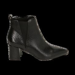 Ankle boots neri stampa vipera, tacco 6 cm , Primadonna, 164931531EVNERO036, 001 preview