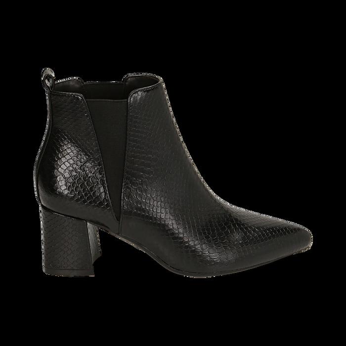 Ankle boots neri stampa vipera, tacco 6 cm , Primadonna, 164931531EVNERO036