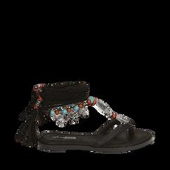 Sandali infradito lace-up neri, Scarpe, 153683578EPNERO035, 001a
