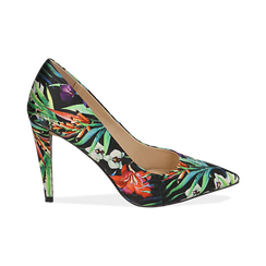 Décolleté nere in raso exotic print, tacco 10 cm, Scarpe, 152133512RSNERO036, 001 preview