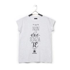 T-shirt bianca in tessuto con stampa nera minimal , Abbigliamento, 13I730077TSGRIGS, 001a