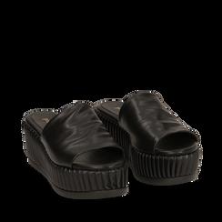 Zeppe platform nere in eco-pelle, zeppa 7 cm, Primadonna, 132147652EPNERO037, 002a