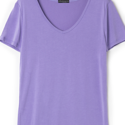 T-shirt con scollo a V lilla in tessuto, Primadonna, 13F750713TSLILLL, 002a