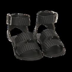 Sandali neri in pelle intrecciata, Zapatos, 156707446PINERO036, 002 preview
