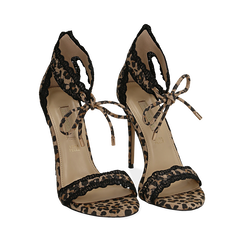 Sandali leopard in microfibra, tacco 11 cm , Primadonna, 152122111MFLEMA035, 002a