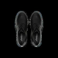 Francesine stringate nere con mini-borchie e punta tonda, Scarpe, 129322751EPNERO, 004 preview