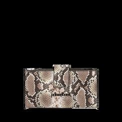 Portefeuille blanc/noir imprimé python, Primadonna, 165122158PTBINEUNI, 001a