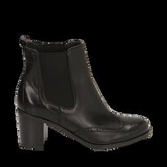 Ankle boots en cuir noir, talon 7,50 cm, Primadonna, 167738004PENERO036, 001a
