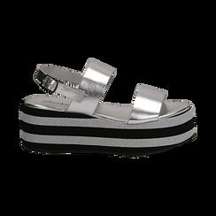Sandali platform argento in eco-pelle, zeppa 6 cm , Saldi, 132175017LMARGE036, 001 preview