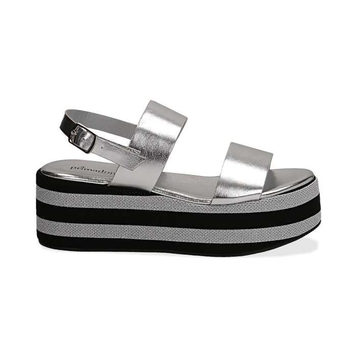 Sandali platform argento in eco-pelle, zeppa 6 cm , Saldi, 132175017LMARGE036