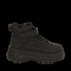 Sneakers platform nere in micro-nabuk, con strap, zeppa 5,50 cm , Scarpe, 14D814403MNNERO035, 001a