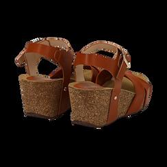 Sandali platform cuoio in eco-pelle, zeppa in sughero 7 cm , Saldi, 132141454EPCUOI036, 004 preview