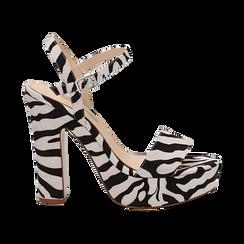 Sandali zebrati in microfibra con plateau, tacco 13 cm, Sandali con tacco, 138404164MFZEBR035, 001 preview
